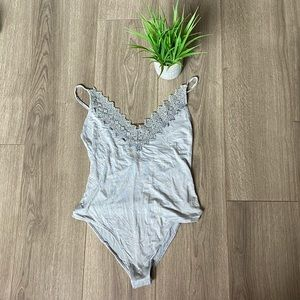 Free People Gia Bodysuit Gray Size Medium